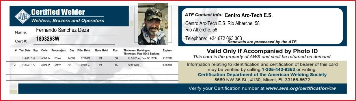 Soldador Certificado por AWS e Instructor de Soldadores
